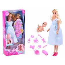 Anlily Lalka mama w ciąży Noworodek akcesor PTP02810 Blue