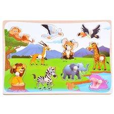 Drewniana układanka zwierzęta Safari 10 ele PTP03594 B