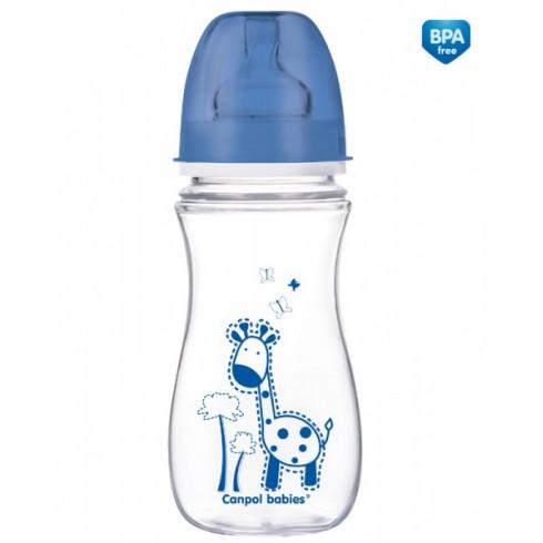 CANPOL buteliukas plataus kaklelio EasyStart 12m+ 300ml Colourful animals 35/204